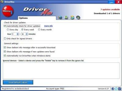DriverMax Опции