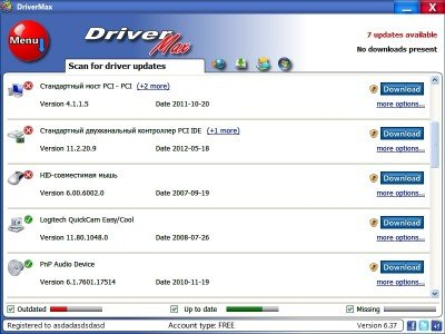 DriverMax Список драйверов