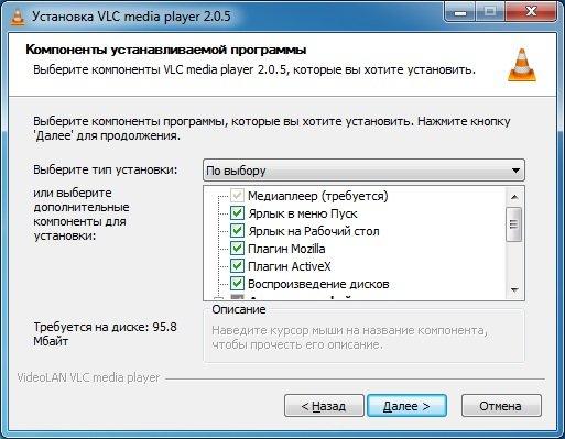 Компоненты программы VLC