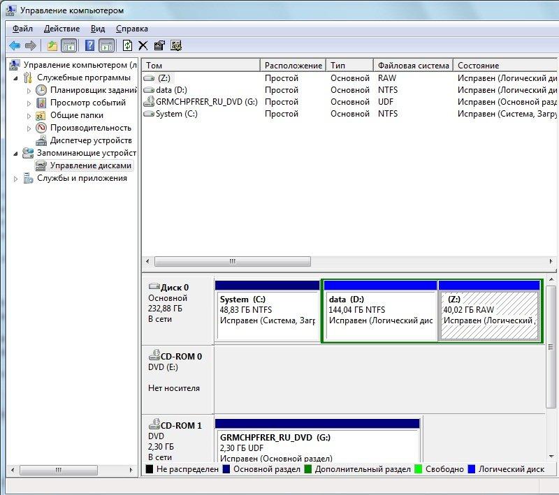 информация в оснастке диспетчера дисков устарела windows 7 флешка