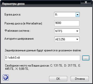 Rohos Disk Encryption настройки диска